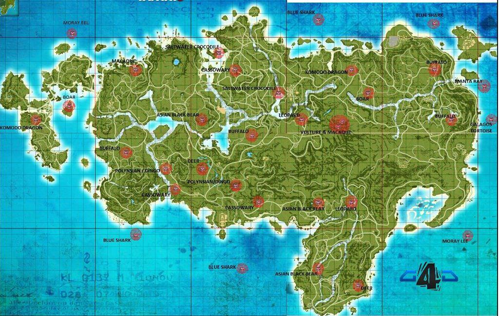 《孤岛惊魂3》北岛全野生动物位置地图图片