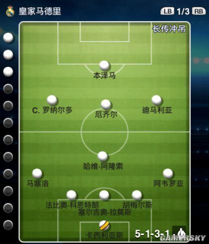 《实况足球2013》各种阵型推荐和组成