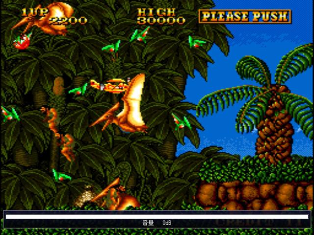 这款早期的街机游戏,使用了一个类似侏罗纪公园的场景,岛上不仅仅是恐龙聚集,还有这一群比恐龙还能跳的原始人。如果碰到恐龙那么你就直接坠机,如果被原始人扒上了飞机,那么你会一直的慢慢往下落。 游戏使用的是MAME模拟器,游戏默认键位为: 方向: 攻击:左ctrl 投币:5 开始:1 游戏详细介绍: