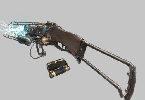 这种高压电能武器还处于试验阶段,修长的枪体上布满了电极和各种线圈.