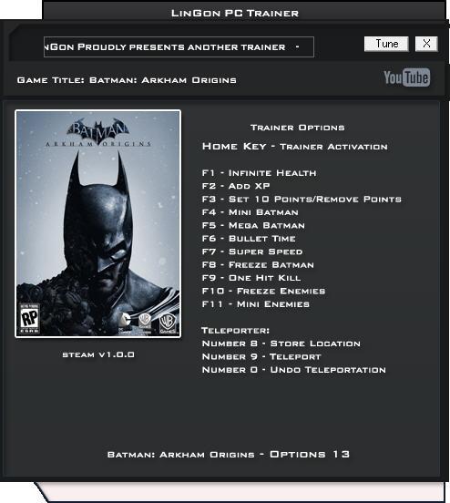 蝙蝠侠:阿卡姆起源修改器+13