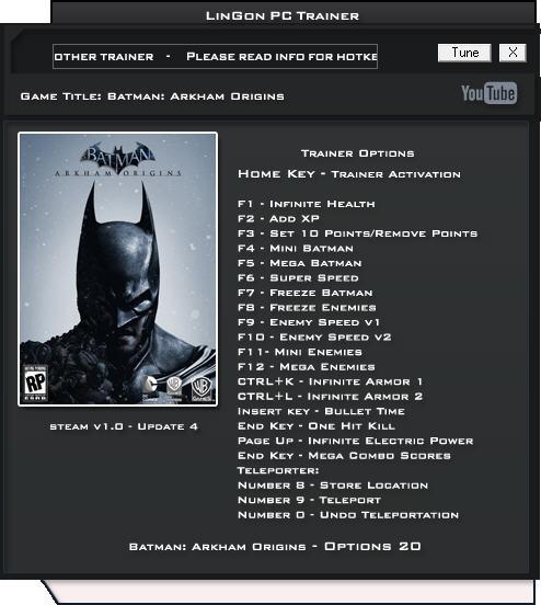 《蝙蝠侠:阿卡姆起源》修改器+20
