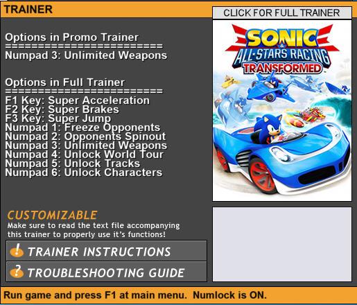 《索尼克全明星赛车:变形》多功能修改器