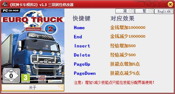 《欧洲卡车模拟2》中文版修改器+3