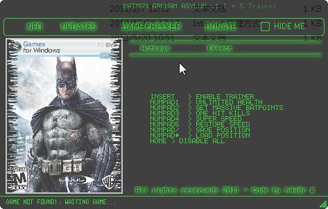《蝙蝠侠:阿卡姆疯人院》修改器+5
