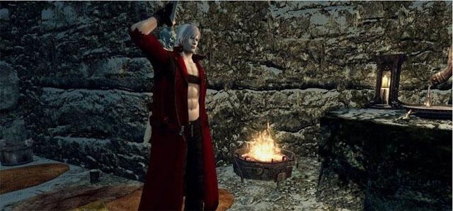 《上古卷轴5》鬼泣3但丁红色风衣MOD