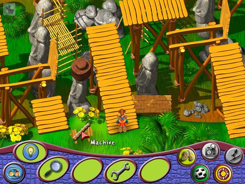 再从机器左边的梯子上去,顺着竹桥走(过不去的地方就跳几下,竹板就会倒下来,或转方向让你可以跳上去。另外竹桥最后面可移动的竹板车就是刚才拉动的机器控制的,如果你到达另一头时车不动了,只能回去再拉一下)。到达尽头后跳下去,往左走就可以找到教授了。教授上你帮忙拍几张照片,跳上教授前面的方形木板开始小游戏。用左、右键控制方向在木板上来回跳,但站在木板上的时间不能太长会沉下去。大鱼浮上水面时站在鱼对面的木板上,照相机会自动拍下照片。照片拍好后教授很高兴,跟他说借飞机的事,但他说飞机有些问题。跟着教授到停飞机的地方