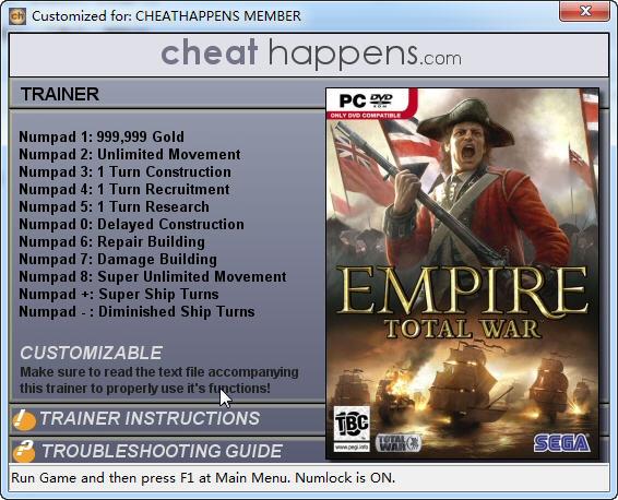 《帝国:全面战争》修改器+11