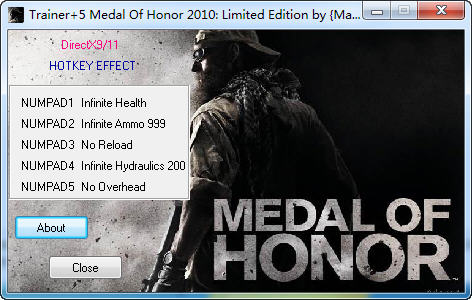 《荣誉勋章:战士》修改器+5