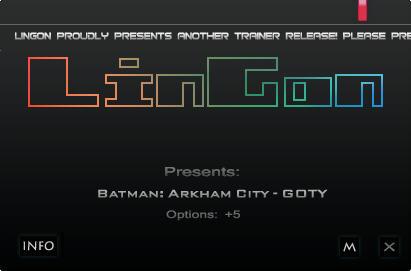 《蝙蝠侠:阿甘之城》修改器+5