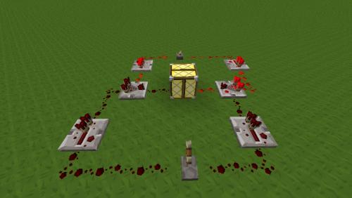 那么c=0 比较器旁边端口接1格红石,背面端口接2格红石,以保证两个开关