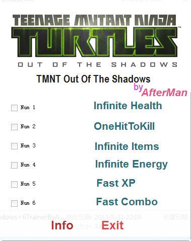 忍者神龟:冲出阴暗修改器+6