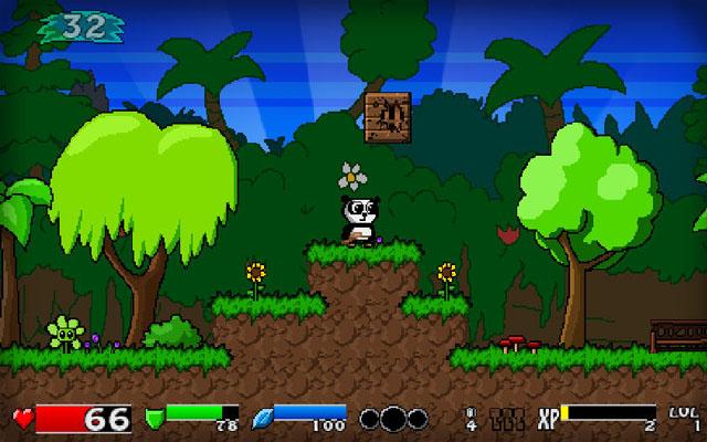 这次游戏的主角是只可爱的熊猫,像超级玛丽一样在丛林中冒险,不过熊猫