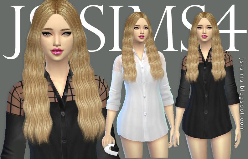 模拟人生4金发美女气质衬衫MOD