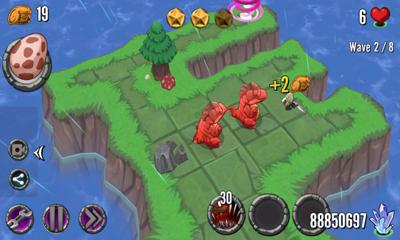 游戏画面清新可爱,场景设计在恐龙时代的海岛