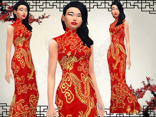 模拟人生4中国风大红旗袍MOD