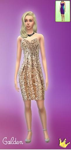 模拟人生4美女性感金色礼服MOD
