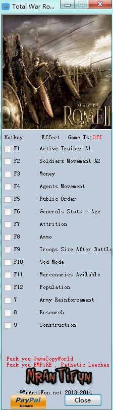 罗马2:全面战争v2.1.0修改器+14