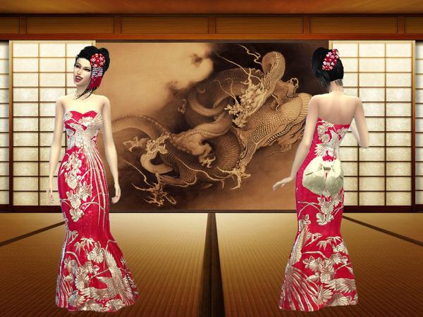 模拟人生4女性古典花纹礼服MOD