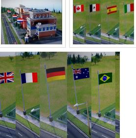 模拟城市5欧美11国旗杆国旗包