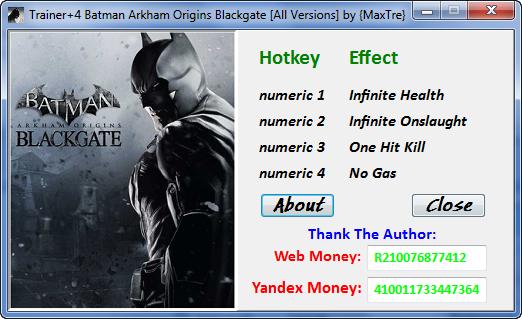 《蝙蝠侠:阿卡姆起源》任意版本修改器+4
