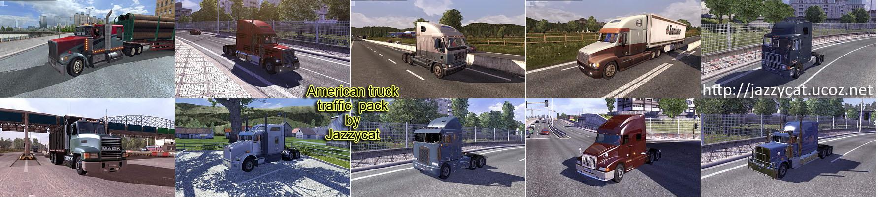 欧洲卡车模拟2美国卡车交通包MOD