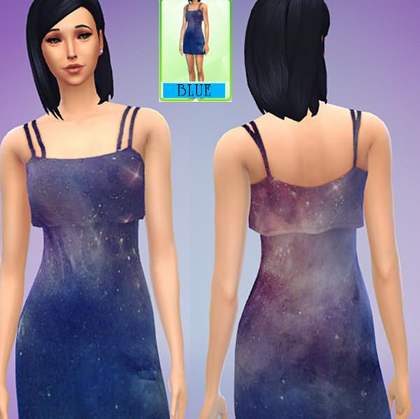 模拟人生4原宿星空连衣裙MOD