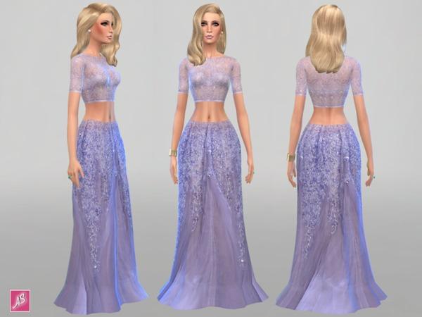 模拟人生4紫色薄纱性感长裙