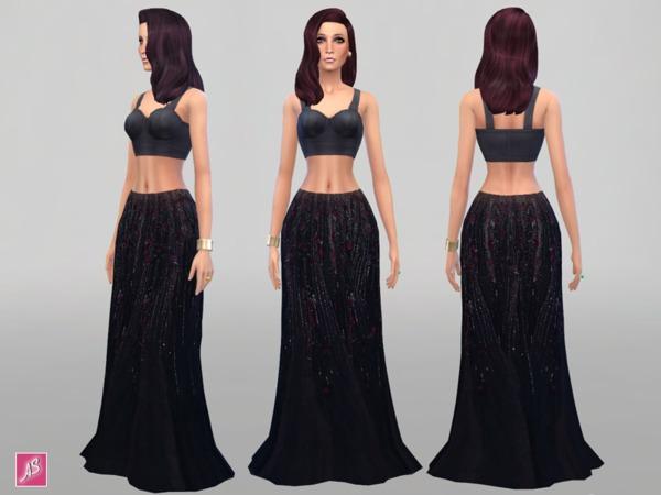 模拟人生4女性黑色优雅长裙
