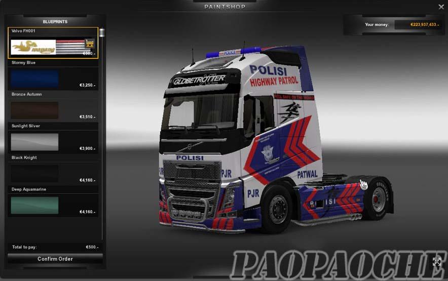 欧洲卡车模拟2沃尔沃2012警车皮肤MOD