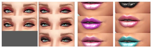 模拟人生4浓妆系眼影及唇彩MOD
