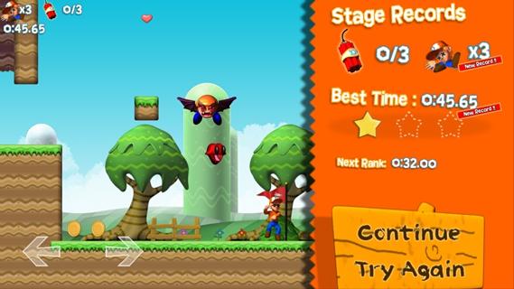 游戏的玩法还是和超级玛丽一样,遥感控制前后左右,跳来移动Default Dan,比较简单;但是小心,在超级小玛丽中可以让你变大变强的蘑菇在这里是致命的炸弹(看吧,蘑菇真的有毒),而在超级小玛丽中是致命的怪物以及陷阱,在这里却是可以帮助玩家快速通关的法宝。是的,这里的一切都是给反过来的。玩到这,有种想哭的冲动,这太尼玛虐心啊!