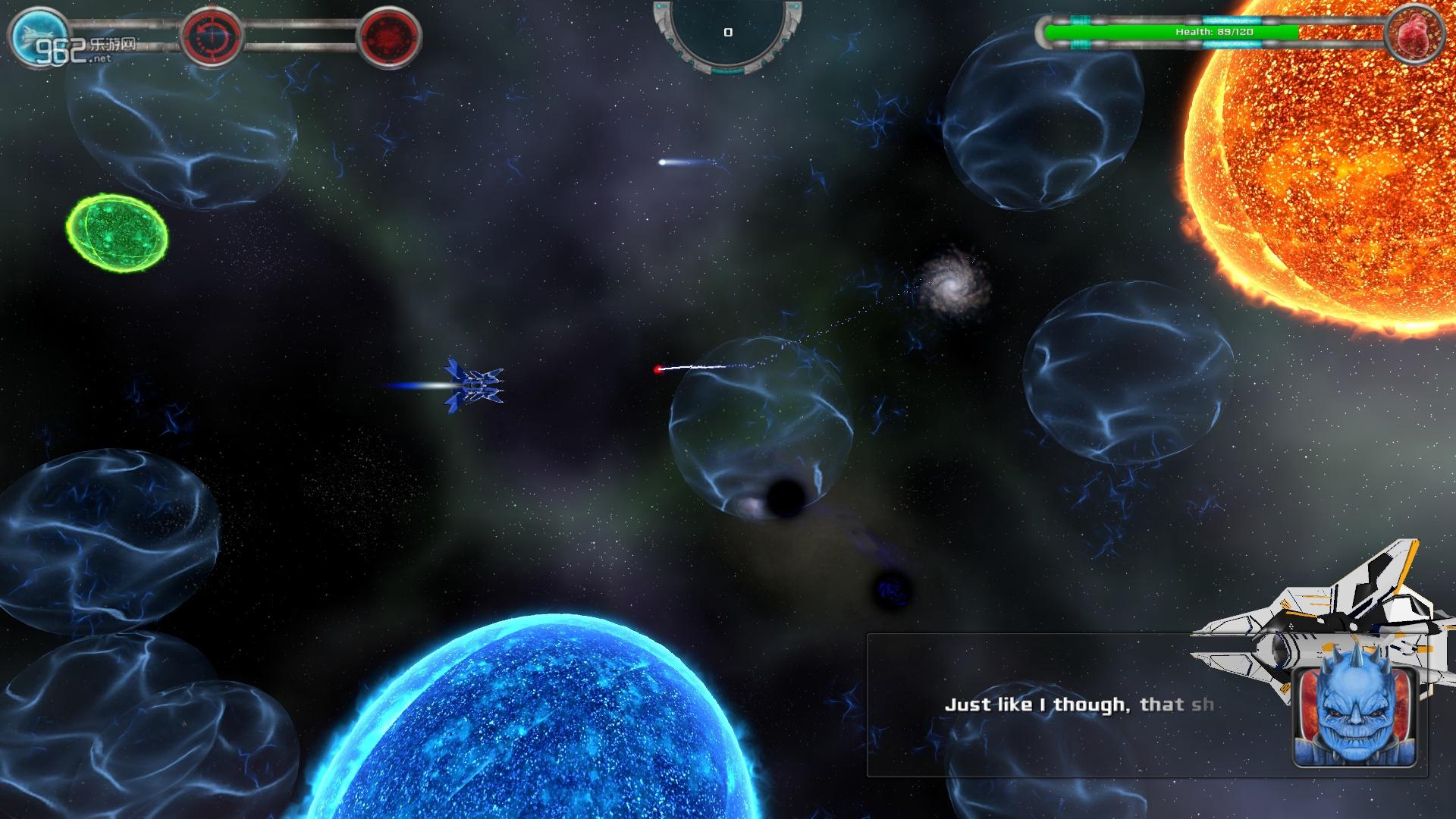 在游戏中需要操作飞船躲开各种陨石,收集太空中的能源,与各种boss战斗