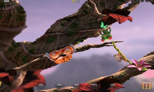 丛林跳跃续作正式发布,画质全面升级,近乎逼真的3D画面将带给玩家绝佳的动作体验,玩家仍然是要控制一只调皮的猴子,借助藤蔓、蘑菇等的弹力奋力跳跃,避开各种障碍来收集更多香蕉和钻石,最后回到树顶上的(Goal)目的地,前作称为(Home)家。