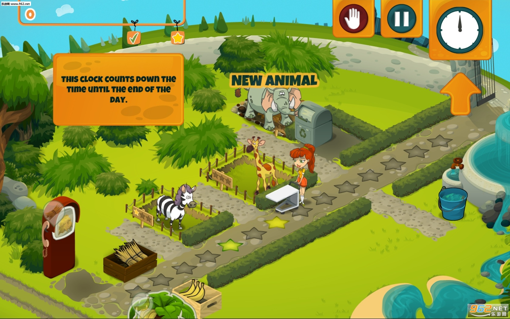 《神奇动物园(Incredible Zoo)》采用的是美漫式的游戏画风,整体色彩明亮,看起来十分舒适。玩法上和其他时间管理游戏类似,在游戏中,你将扮演一个动物饲养员的角色,你需要根据每只动物的需求来给予它们不同的食物,满足其要求,越快的回应它们获得的评分就越高。值得注意的是别养太多动物,否则你的食物是跟不上的,总体来说还算是一款比较休闲的模拟经营游戏。