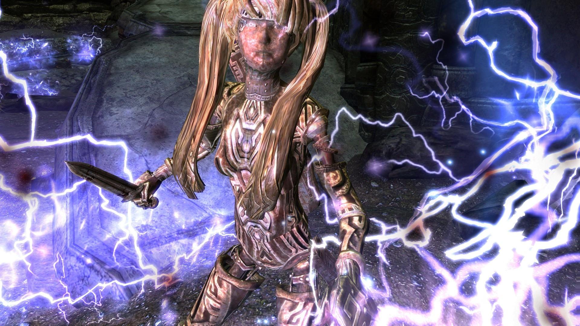 上古卷轴5安琪莉战斗动作MOD,为玩家带来战士相关所有武器类型,可剑盾丶可双持丶可单手丶可双手丶可游弓丶自带两把自制的龙骨剑,让玩家可以自由享受各类武器所带来的战斗体验,并且战斗力相当之高,喜欢的玩家不要....