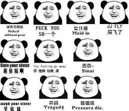 暴走漫画熊猫中英文表情包