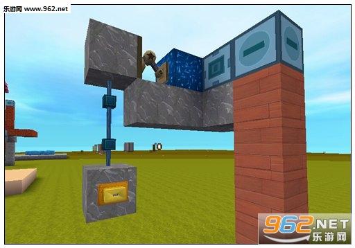 7.然后再令一个推拉臂后面也加上一个岩石,然后在电梯后面如下图连接电能线(电能线要往后延伸一格),然后再接上一个岩石,岩石正面放上一个触碰按钮,这是二楼的电梯下降按钮; 建议:下降按钮最好和上升按钮放同一边,这样操作起来比较方便。