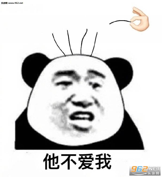 他不爱我他爱我熊猫头拔头发表情包图片