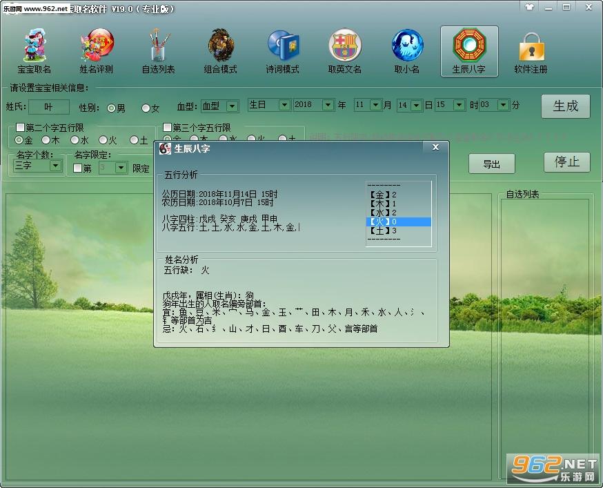 生辰八字宝宝取名软件专业版v19.0_截图4