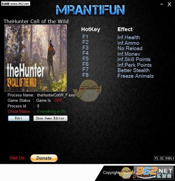 《猎人:荒野的呼唤》八项修改器v1577407截图0