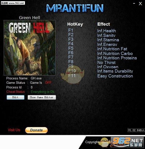 绿色地狱十一项修改器v0.4.3截图0
