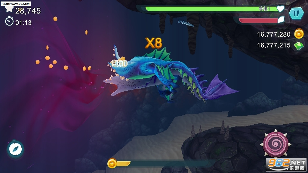 饥饿鲨进化海中怪兽最新破解版v7.5.8无限宝石截图3
